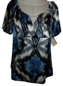 b.street Drop Sleeve Peasant Neckline Top Black/Blue/Gray
