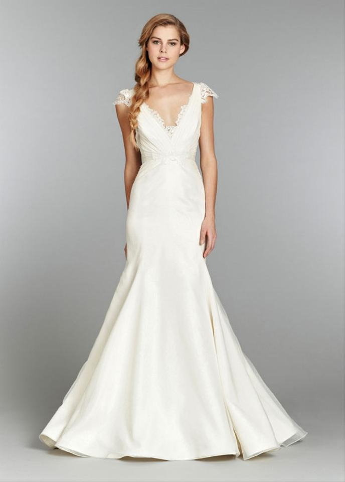 Blush by hayley paige ivory organza and lace may gown for Hayley paige wedding dresses cost