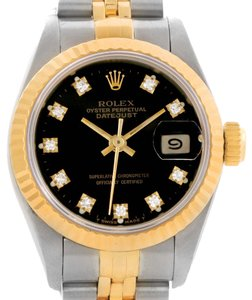Rolex Rolex Datejust Steel 18k Yellow Gold Diamond Watch 69173 Box Papers