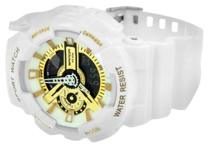 Other Sports Watches Shock Resistant White & Gold Silicone Strap Digital Analog Mens