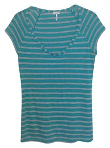 Splendid Striped T Shirt Turquoise / Gray