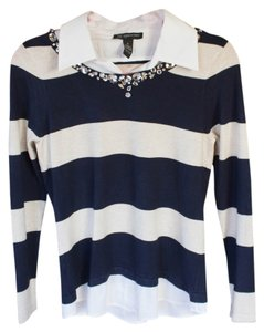 INC International Concepts Striped New Casual Blue/white Sweater