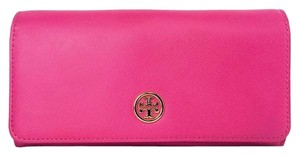 Tory Burch Tory Burch Robinson Envelope Pink Saffiano Leather Continental Wallet