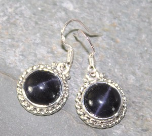 Vintage Silver Dark Blue Dangle Earrings Free Shipping
