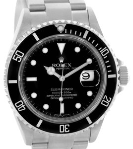 Rolex Rolex Submariner Date Mens Stainless Steel Watch 16610 Box Papers