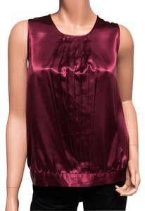 BCBGMAXAZRIA Satin Button Neck Maroon Top red