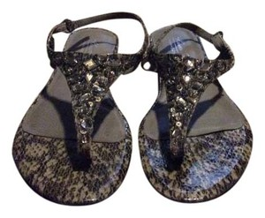 Kenneth Cole Snakeskin Beading Gray taupe Sandals