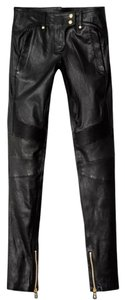 Balmain x H&M Leather Gold Zippers Skinny Jeans-Coated