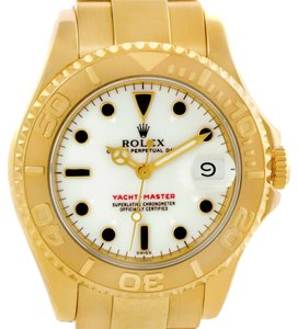 Rolex Rolex Yachtmaster Midsize 18K Yellow Gold White Dial Watch 68628