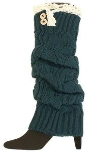 Teal Green Knitted Lace Top Button Accent Leg Warmer Boot Socks Topper