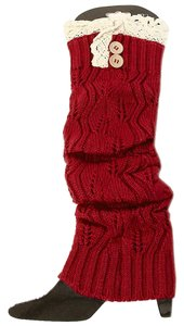 Other Red Knitted Lace Top Button Accent Leg Warmer Boot Socks Boot Topper