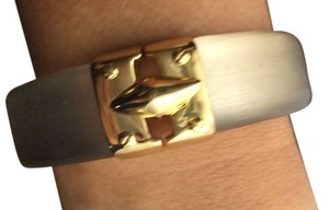 Alexis Bittar Large Gold End Cap Frosted Lucite Hinged Bangle Bracelet