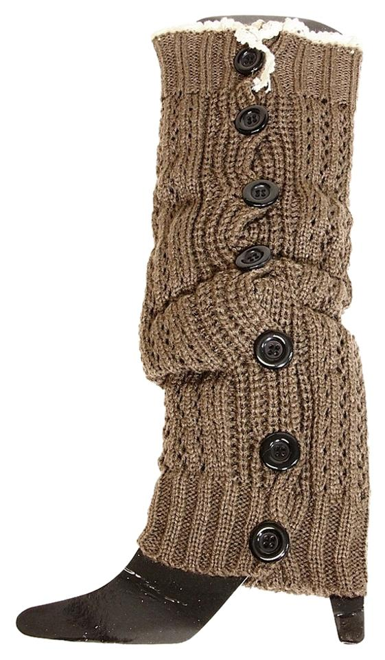 f7f9953ee Brown and Beige Button Down Leg Warmer Boot Boot Topper Socks - Tradesy