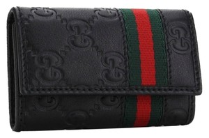 Gucci New Authentic Gucci Monogram Black Leather 6 Key Holder Wallet