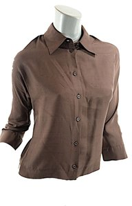 Prada Dupioni Silk Classic Button Down Shirt Brown