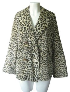 Other 1950s 1960s 50s 60s Swing Faux Fur Fun Fur Double Breasted High Collar Rockabilly Evening Dressy Cheetah Jacket