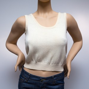 St. John Knit Thick Crop Top Ivory