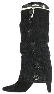 Black Lace Top Button Down Leg Warmer Boot Socks Boot Topper