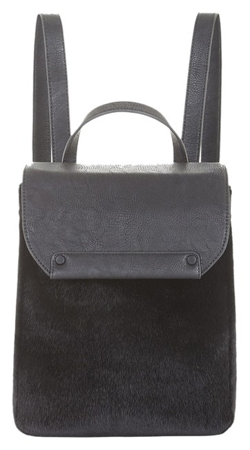 Item - All For You Black Faux Leather and Faux Fur Backpack