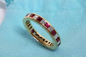 Tiffany & Co. Tiffany & Co Ruby Diamond Eternity Wedding Band Ring 6