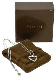 Gucci Authentic Gucci Sterling Silver Bamboo Heart Pendant Necklace