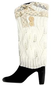 Other White Sweater Knitted Lace and Button Accent Legwarmer Boot Topper