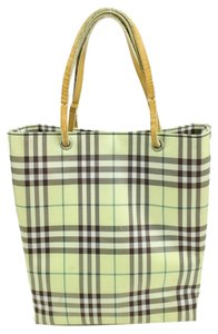 Burberry Plaid Nova Check Tote in Beige