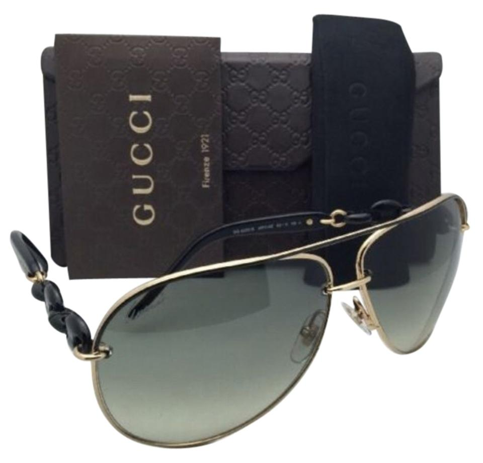 2392e782b310c Gucci New GUCCI Aviator Sunglasses GG 4225 S WPOAE 63-11 Black   Gold ...