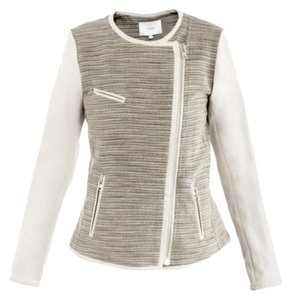 IRO Deven Classic Chanel White Winter White Leather Tweed Blazer