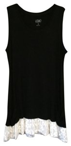 Lori Goldstein Lace Pockets Tunic Length Logo Top Black/Ivory