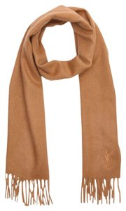 Saint Laurent Embroidered Tan Wool Scarf