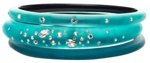 Alexis Bittar Alexis Bittar Turquoise Lucite And Crystal Bangel Bracelet Set Of 3 New With Box