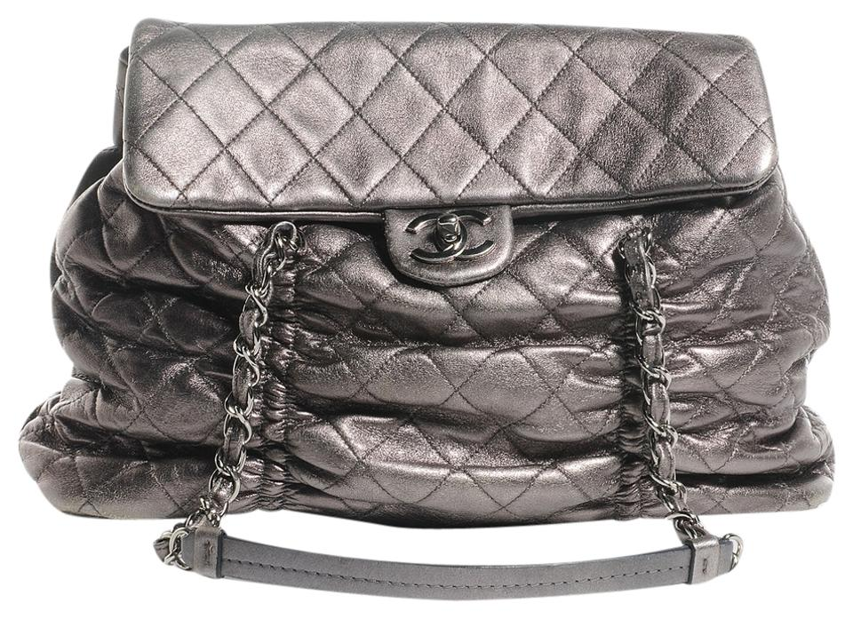 9ffe3768fccc Chanel Flap Quilted Flap Lambskin Quilted Shoulder Hawaiian Special Edition  Purse Tote in Metallic dark silver ...