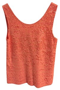 J.Crew Sequin Sleeveless Orange Top Sherbert
