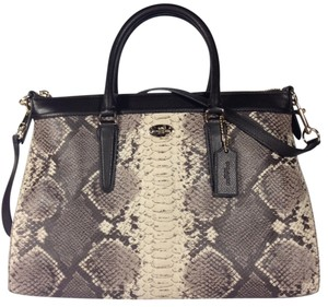 Coach F35881 Morgan Embossed Leather Python Leather Satchel in Grey Multi