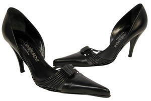 Saint Laurent Ysl Monogram Paris Pony Hair Black Pumps