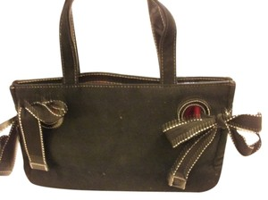 Victoria's Secret Ribbon Bows Velvet Style Tote in Black/red