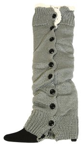 Gray Crochet Lace Top Button Down Accent Winter Leg Warmer Boot Socks