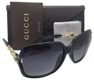 Gucci New GUCCI Sunglasses GG 3584/N/S OREWVK Black & Gold Frame w/Crystals + Grey Gradient Lenses