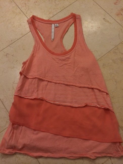 LC Lauren Conrad Spring Summer Peaches And Cream And White Striped Cute Top Orange