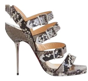 Christian Louboutin Leather grey silver python Sandals