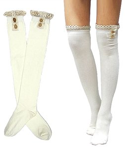 Other Cute White Buttoned Lace Top Cotton Knee High Boot Socks Stocking