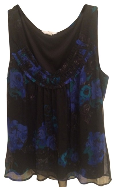 Item - Black with Blue and Green R Tank Top/Cami Size 16 (XL, Plus 0x)