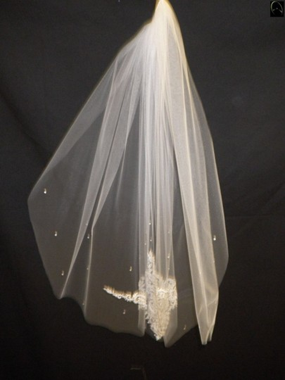 Stunning Mid-length White And Ivory Length Veil With Beading