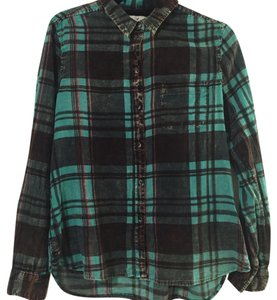 American Eagle Outfitters Button Down Shirt Green multi