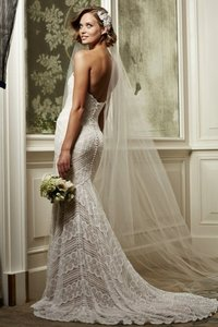 Wtoo Ivory Rose Gold Lace Pippin 13111 Modern Wedding Dress Size 8 (M)