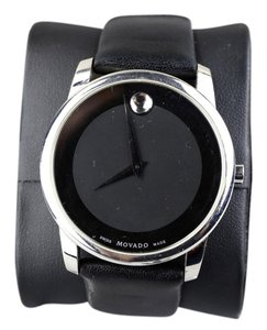 Movado Movado Black Museum Dial Leather Band Dress Mens Watch