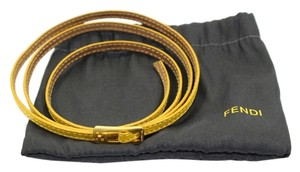 Fendi (Authentic) Fendi Gold Tone Yellow Leather Bangle Italy