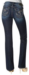 Silver Jeans Co. Juniors Suki Surplus Dark Wash Boot Cut Jeans-Dark Rinse
