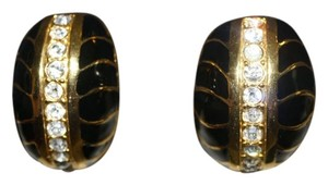 Other VINTAGE 80's LARGE CLIP ON EARRINGS IN BLACK AND GOLD RHINESTONE